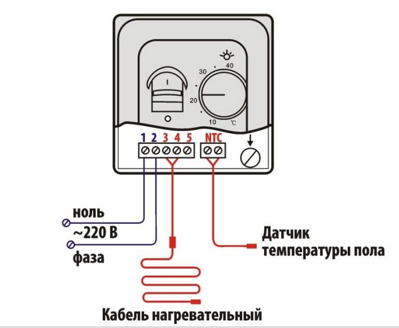 Схема подключения терморегулятора RTC 70.26 в системе отопления греющий потолок и теплый пол